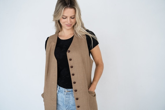 Sleeveless Vintage Duster Jacket / Longline Sleeve