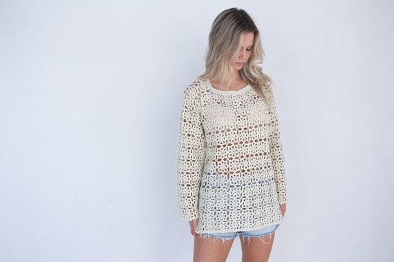 White 70's Crochet Vintage Top / Boho Hippie Shirt