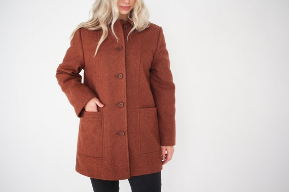 Copper Vintage Wool Single Breasted Pea Coat / Vin