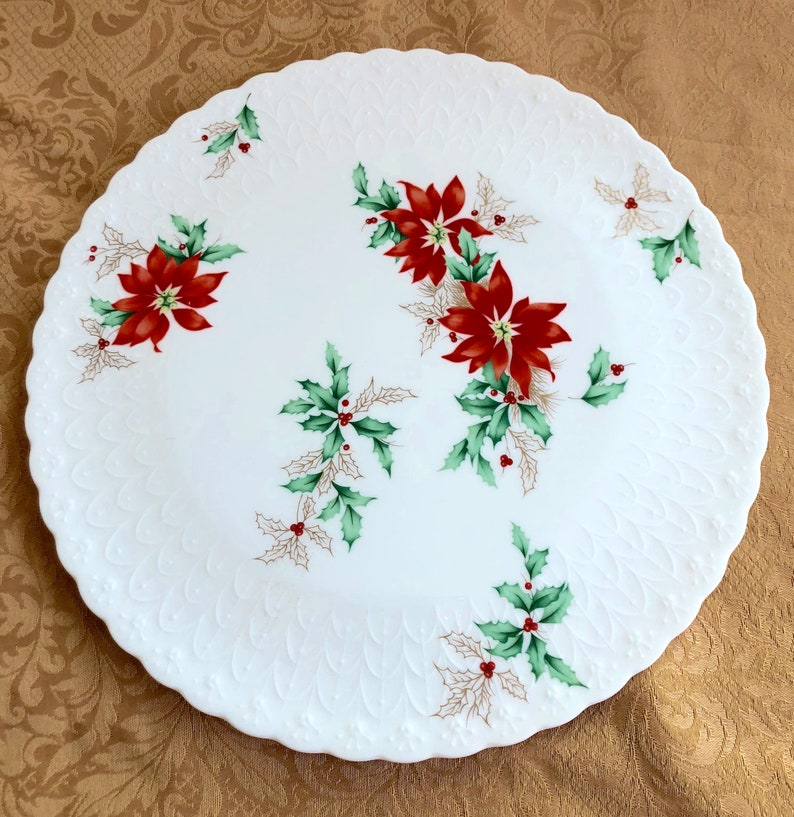 Vintage Mikasa Bone China Embossed Poinsettia Cake Plate and Server Set Free U.S MINT CONDITION GORGEOUS Shipping!