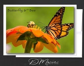 Note Cards Box of 8 Cards \ Butterfly & the Bee \  note cards with 1 design \ A2 Cards