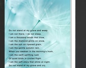 Sympathy Floral Card \ Do not stand at my grave and weep \ Card to comfort during a time of sorrow \ A7 Cards