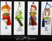 MINNIE'S  Bookmark Collection \ Love Books Girl \ Bookworm \ Night Owl \ Super Hero Boy \ Package of 4 \ Fun Bookmarks