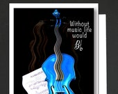 Card for a Music Lover \ Without music life would be B flat \ violin lovers card for a women or a man \ WHIMSICAL \ A6 Cards