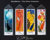 Chloe FLORAL Collection Bookmarks \ Dragonfly \ Leaf \ Sunflower \ Tulip \ Package of 4 \ Unique Bookmarks