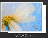 White Floral Ice Card \ Hello \ We've miss you! \ Card for a Women or a Girlfriend \ A7 Cards