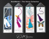 Venus LOVE Collection Bookmarks \ Violin \ Feather \ Hearts \ Butterfly \ Package of 4 \ Unique Bookmarks
