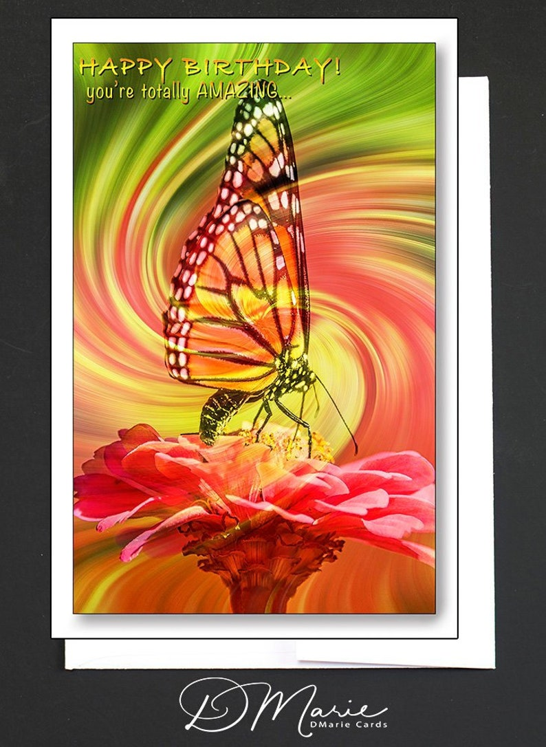 Happy Birthday Card  Youre totally AMAZING  Butterfly Card image 0