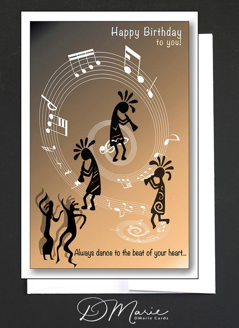 Happy Birthday Card   Kokopelli Card  Card for a women or a image 0