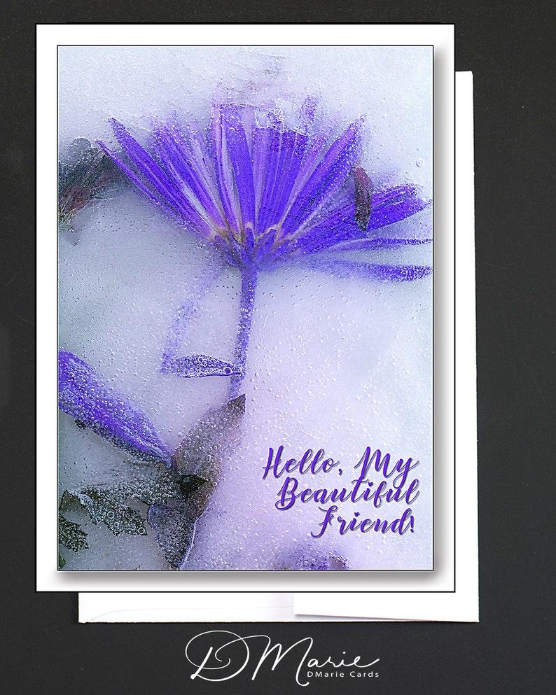 Friendship Card  Hello My Beautiful Friend  WHIMSICAL  image 0