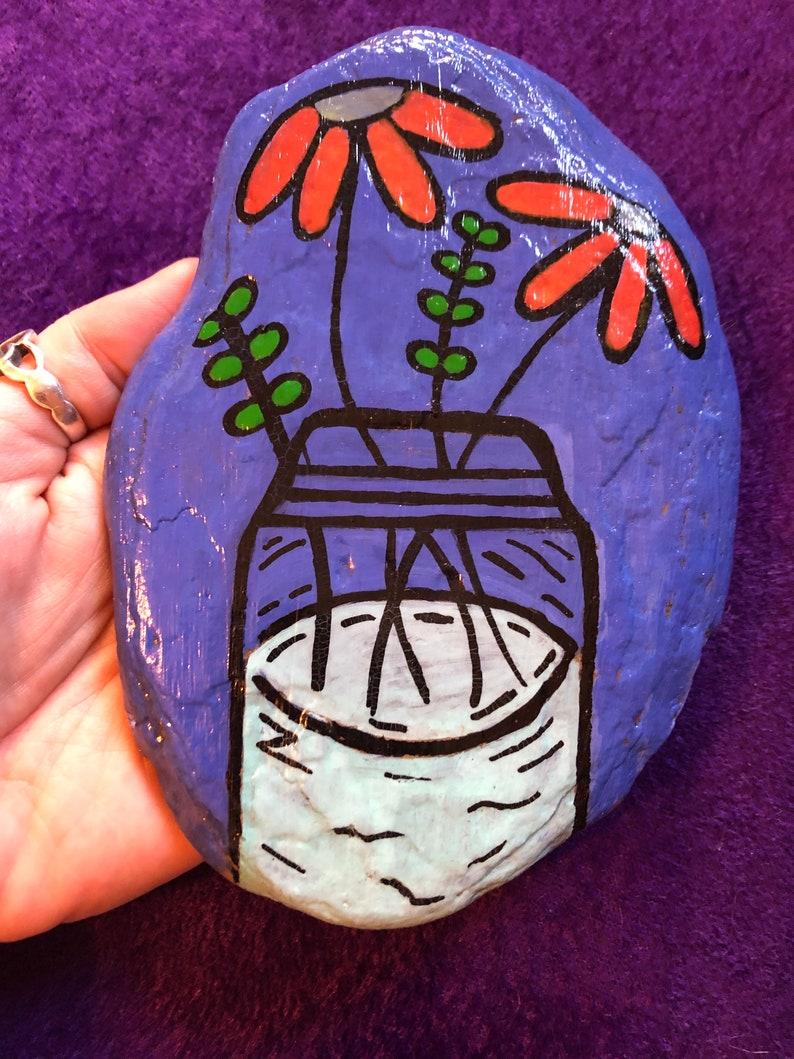 Mason Jar of Flowers rock painting