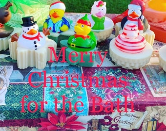 Kids Christmas Soap/Bubble Bath Toy/Snowman Soap/Duck Soap/Snowflake Soap/Rubber Ducks/Rubber Ducky/Duck Baby Shower/Home Made Soap/Duck Toy
