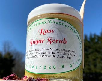 Foot Exfoliator/Exfoliate Body Scrub/Body Exfoliator/Self Love Jar/Rose Sugar Scrub/Homemade Sugar Scrub/Skin Exfoliant/Foot Scrub