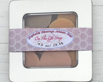 On The Go Soap/Portable Soap/ Pocket Soap/Camping Soap/Soap Tin/Soap Saver/Travel Soaps/Self Care Box/Luxury Soap/Soap Box/Handcrafted Soap