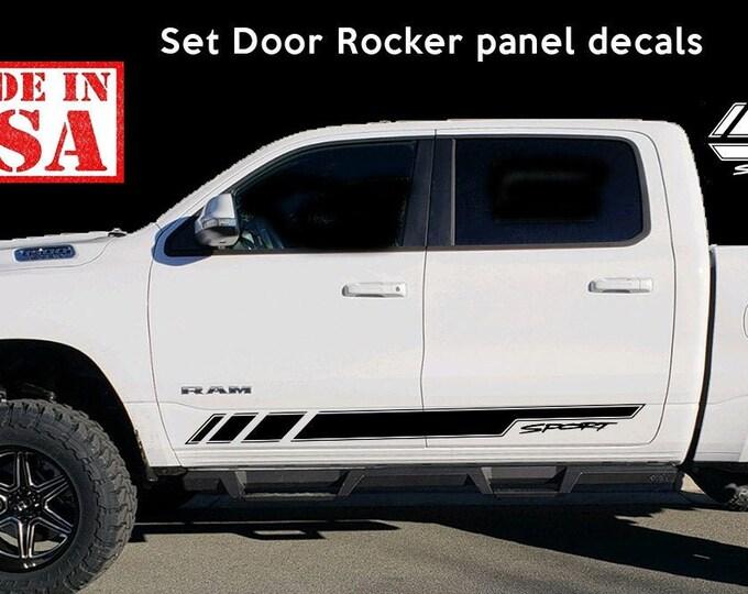 Side Stripe Decal Sticker Kit for Dodge Ram Door Fender Flare Handle 2009-2017 Stripes Vinyl Stickers, Mopar, Hemi 5.7 L