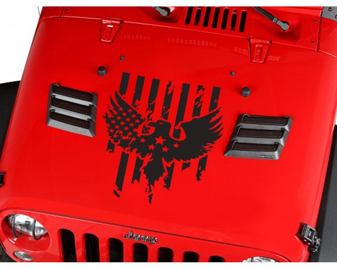 USA Flag Eagle Wings Stars Stripes Hood Jeep Car Truck Suv Vinyl Sticker Decal gift