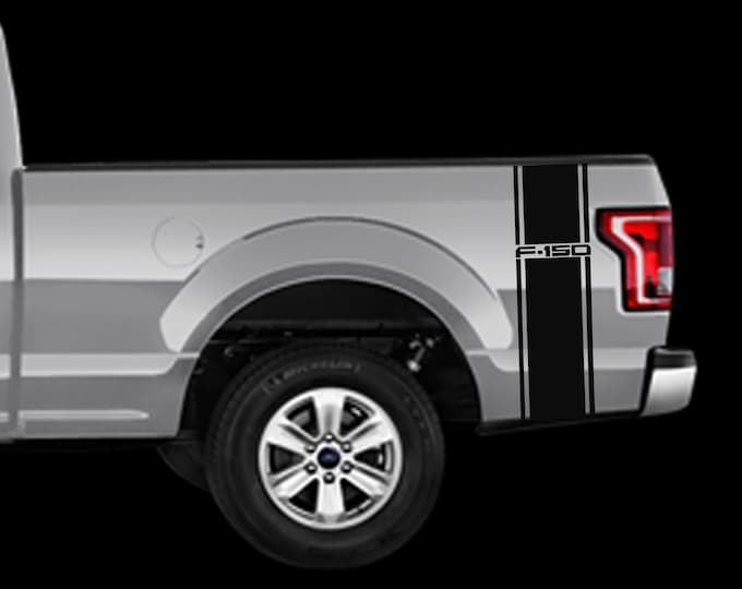 Ford F-150 Rear Bed Stripes  Decals Vinyl Truck Sticker Kit of 2 decals fit 2015-2019 replica Rear Vertical Stripe w/ F-150 Logo