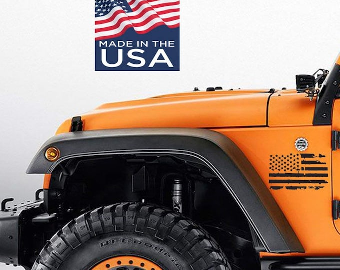 American USA Flag Vinyl 2 Side Decals  Fit all,Trucks,cars, Jeep Wrangler, Renegade , USA Flags ,Sticker,american flag decal