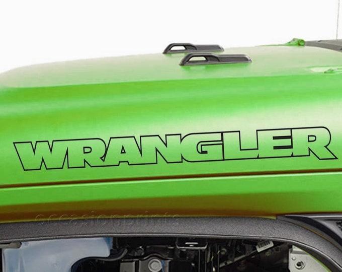 Jeep Wrangler Hood Outline Decal Sticker jk tj yj cj set