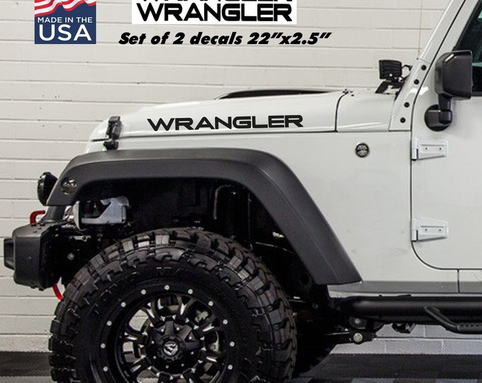 Jeep Wrangler Hood text stickers vinyl decals jk tj yj cj set
