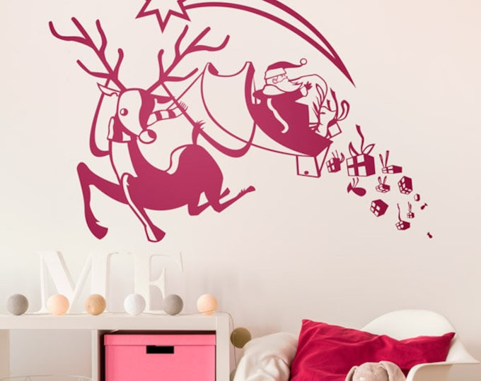 "Christmas Holiday Santa Reindeer Wall Window Vinyl Decal home Mural decor art Approx 30"" by 20"""
