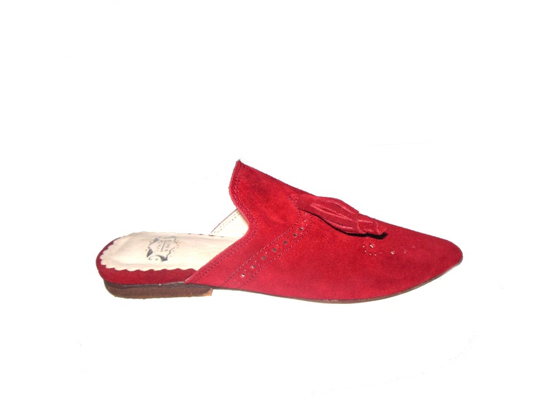 Women/'s Suede Mule Women Leather Slippers Unique Collection Handcrafted Women Slides Designer Suede Leather Slip-on Mules with Tassel