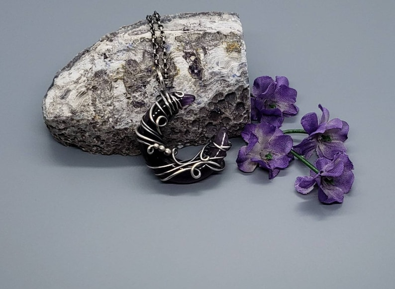 Amethyst Jewelry Gift Set Amethyst Crescent Moon Wire Wrapped Pendant in Antiqued Sterling Silver with Matching Sterling Amethyst Earrings