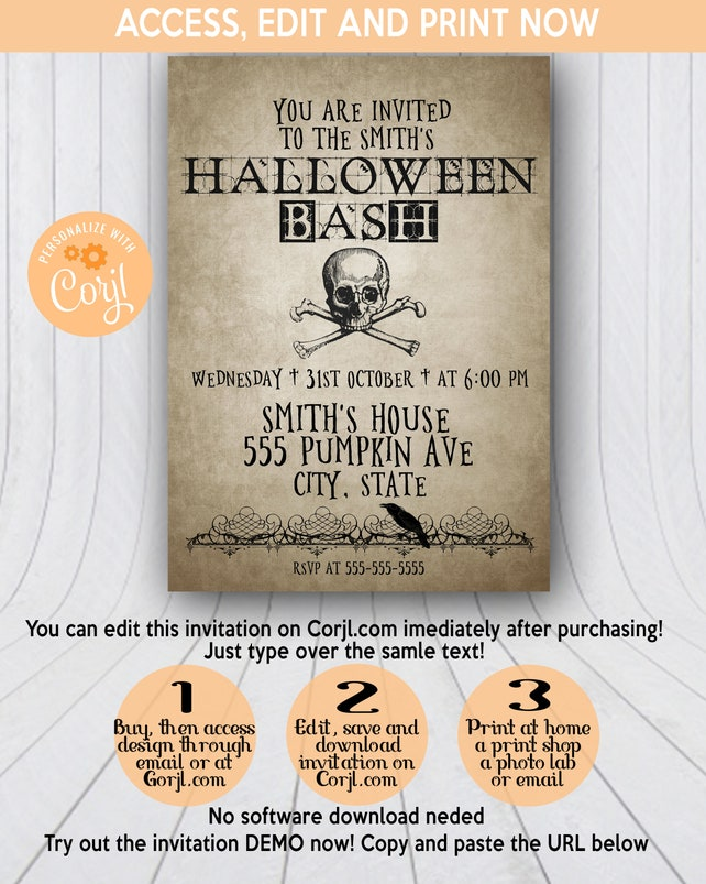 Vintage Halloween Invitation, Halloween Party