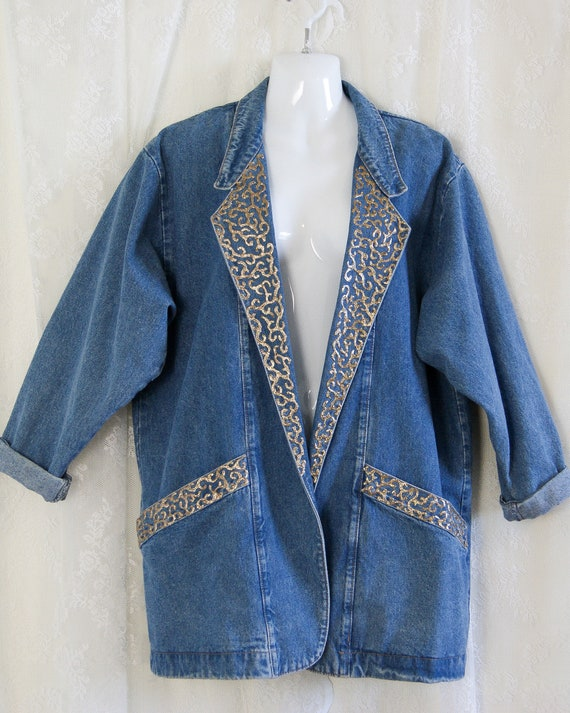 80s oversized denim blazer by Lorraine's Designs