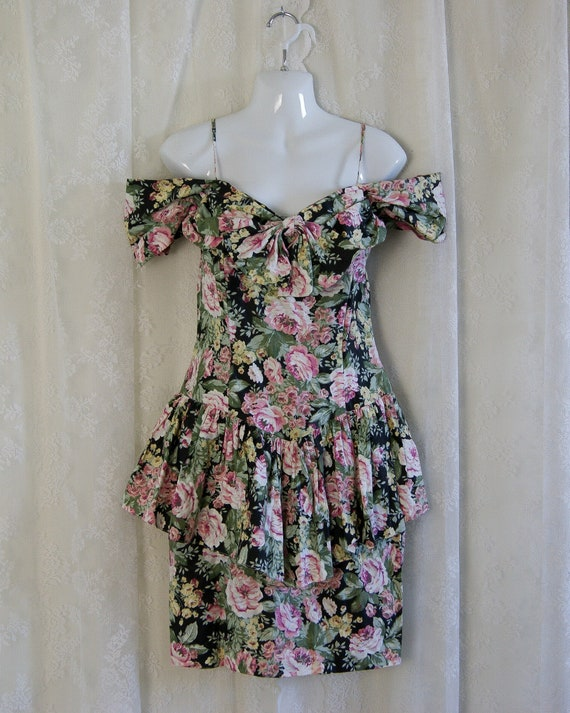 80s floral peplum dress by All That Jazz