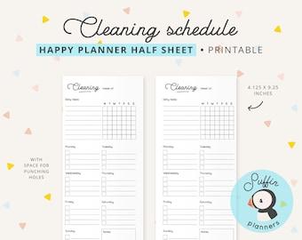 Cleaning schedule happy planner half sheet inserts, half sheet planner, half sheet weekly printable, half sheet notebook, household, S01