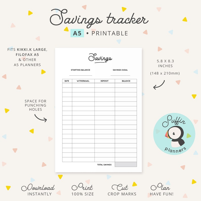 picture about Savings Printable identify Discounts tracker printable, A5 Printable, Personal savings printable, Economical planner printable, Discounts planner printable, A5 rings S01