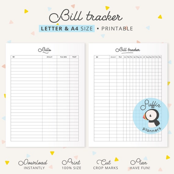 image regarding Bill Payment Tracker Printable identified as Monthly bill tracker printable, A4 Letter dimensions, monthly bill tracker laptop, monthly bill shell out record, invoice price tracker, monthly bill pay out tracker S01