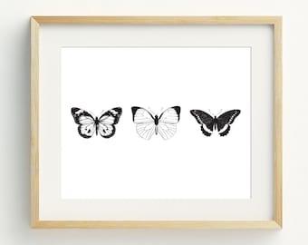 Butterflies Printable, Monochrome Butterfly Art Prints, Minimalist home, Black and white wall art, Monochrome Decor, 5x7, 8x10, 11x14