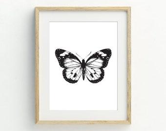 Butterfly Printable, Monochrome Butterfly Art Prints, Minimalist home, Black and white wall art, Monochrome Decor, 5x7, 8x10, 11x14