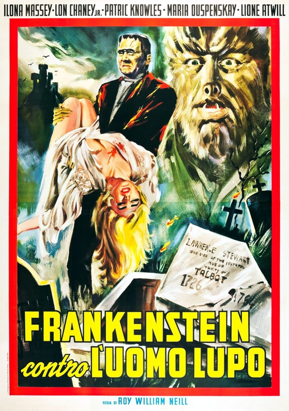 Giclée Print Movie Poster 1943 Frankenstein Meets The Wolfman Lon Chaney