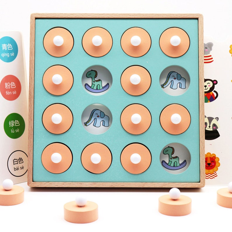 Wooden Box Memory Chess Montessori Counting Toy Kids Educational Puzzle Kid Gift Kids Wooden Alphabet Puzzle Kids Thinking Training Toy