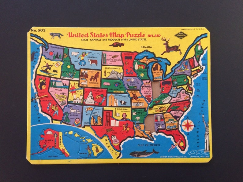 United State Map / Puzzle Pieces / Vintage / Your Choice | Etsy