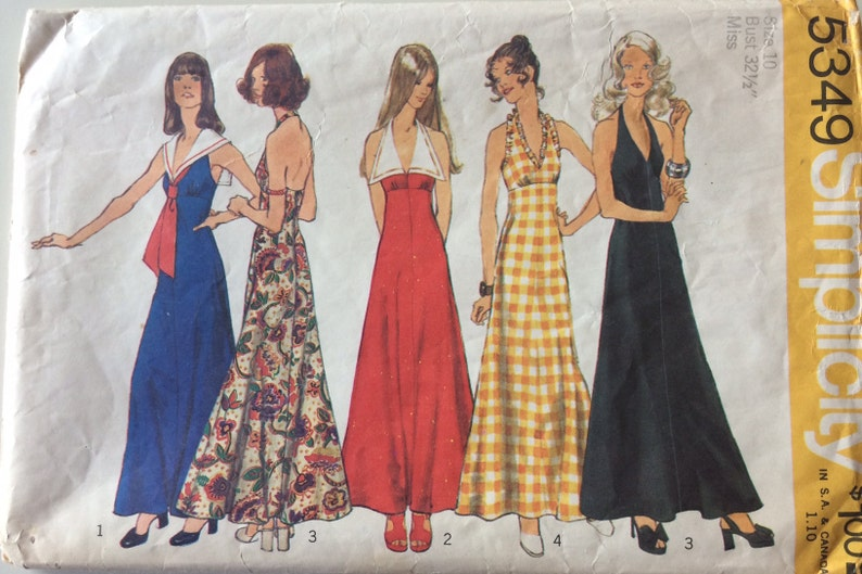 1970s Maxi Dress, Empire Waist, Halter Style, Evening Gown, Sailor Collar Misses Size 10 Vintage Sewing Pattern Simplicity 5349