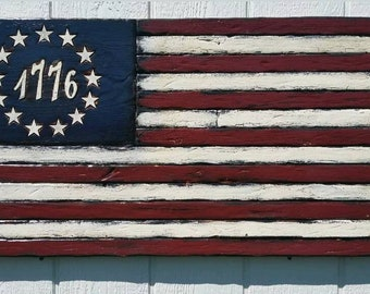 1776 Flag Betsy Ross Rustic Colony Vintage American Historic Colonial Old