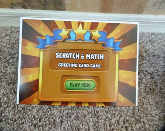 Monster Trucks, Construction Trucks Greeting Card, Scratch & match lottery style game fun for kids, all ages!  Limited time buy 1 get 1 free