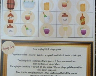 """Fun """"Happy Hour"""" Drink-themed Greeting Card game, Scratch & match lottery style Fun for Adults, Birthday Greeting Card Game Idea for Adults!"""