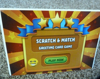 Smiley face, emoji themed Fun Greeting Card Game, Scratch & match lottery style game for kids!  For a limited time, buy 1 get 1 free!