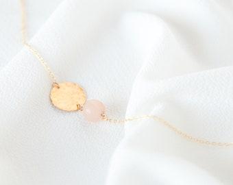 Iris necklace / asymmetrical / hammered and orange calcite / MADA