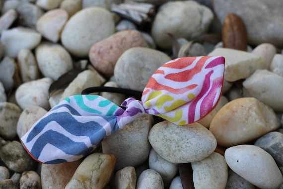 Organic Fabric Scrap Hair Ties / Hair Accessories / Gifts for Kids/ Brushstroke Flower Hair Tie / Organic Hair Accessories / Ponytail Holder
