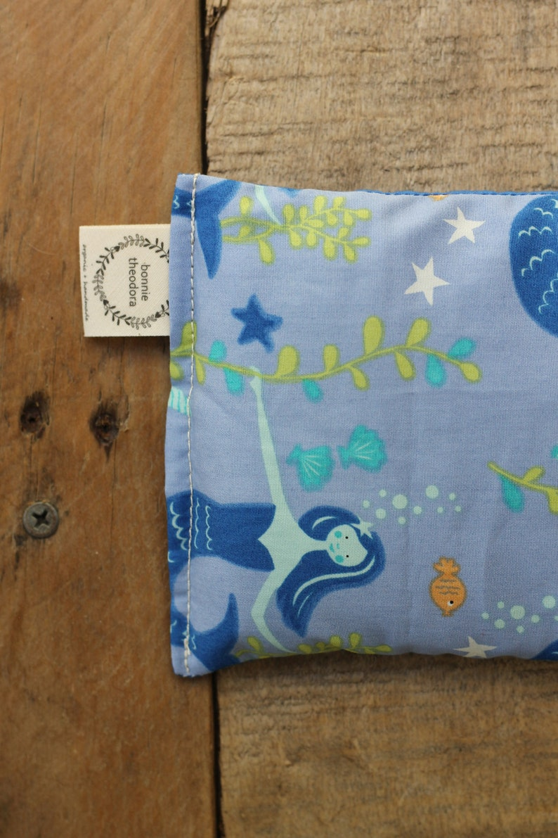 Mermaids  Organic Weighted Eye Mask  Glass Beads  Yoga Pillow  Headache Relief  Gift for her  Spa Gift