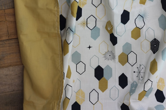 Adult Organic Weighted Blanket-Geometric And Gold Organic Cotton, Gift For Her,  Glass Beads, Dorm Room Gift, College Gift, Anxiety Relief