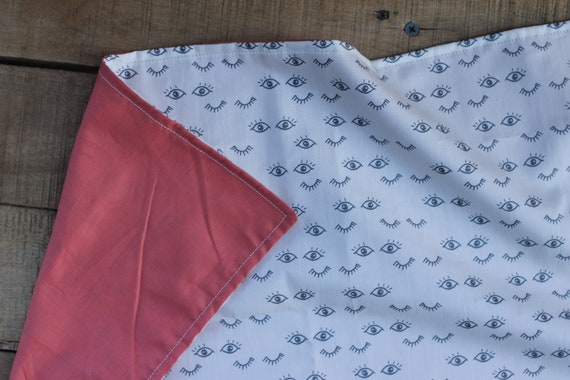 Child's Organic Winky Eyes Weighted Lap Pad/Coral Organic Cotton Back-Approximately 12X20- Choose Your Weight! Glass Beads
