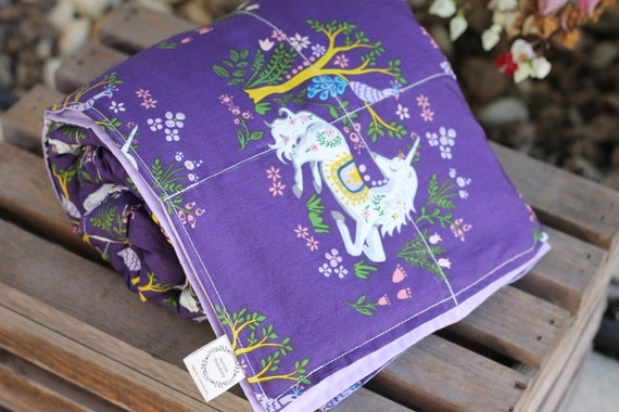 Child's Organic Weighted Blanket-Unicorn Dreams Organic Cotton/Choose Your Organic Cotton Back, Glass Beads, Sensory Gift, Autism Gift