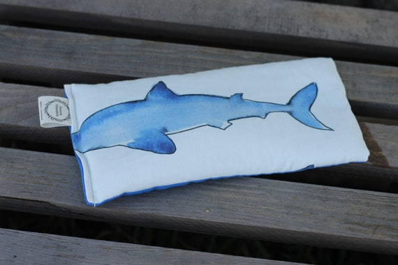 Organic Weighted Eye Mask / Sharks / Glass Beads / Sleep Mask / Yoga Pillow / Eye Pillow / Headache Relief / Gift for her / Spa Gift